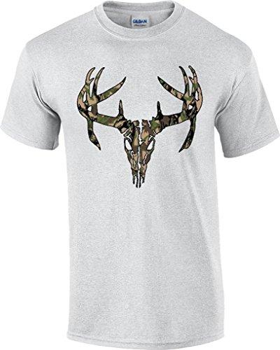T-ShirtQueen Men's Camouflage Camo Deer Skull Hunting T-Shirt XX-Large Ash ()