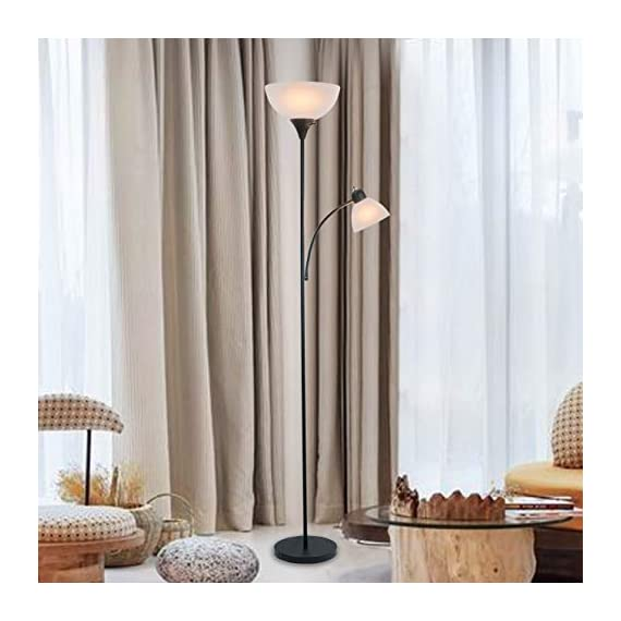 """Adjustable Floor Lamp with Reading Light by Light Accents - Susan Modern Standing Lamp for Living Room/Office Lamp 72"""" Tall - 150-watt with Side Reading Light Corner Lamp (Black) - Incandescent torchiere floor lamp for small- to medium-size rooms. Great as a dorm room floor lamp, floor lamps for bedrooms, floor lamp for living rooms. Sleek Black-painted finish with a gently curved white-frosted plastic shade Fully Adjustable Side Reading light, Use as a kids floor lamp floor lamps for bedrooms - living-room-decor, living-room, floor-lamps - 41cV5TFK2OL. SS570  -"""