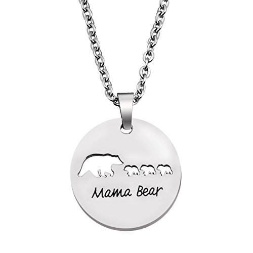 Pendant Mama 1 (KUIYAI Sweet Mama and Baby Bear Round Pendant Necklace for Mothers with 3 Children (3 Cubs Round))