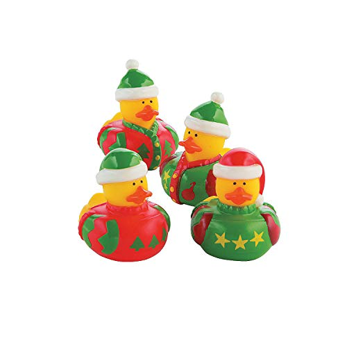 Fun Express - Ugly Sweater Rubber Ducks for Christmas - Toys - Character Toys - Rubber Duckies - Christmas - 12 Pieces