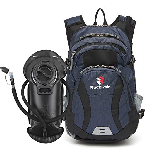 ROCKRAIN WindSeeker Insulation Hydration Cycling Backpack Pack with 2.5L BPA Free Leak Proof Water Bladder, Sufficient Storage Space for Outdoor Gear- Perfect for Cycling (Navy Blue)