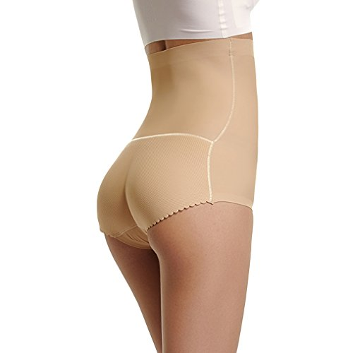 Body Shaper for Women Butt Lifter Shapewear Panties with Tummy Control Padded Hip Enhancer Briefs(Beige,L) - Bridal Shaper