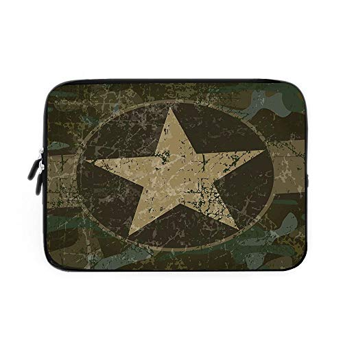 Camo Laptop Sleeve Bag,Neoprene Sleeve Case/Grunge Dusty Dirty Design with a Star in Circle Undercover War Theme/for Apple MacBook Air Samsung Google Acer HP DELL Lenovo AsusArmy Green Beige