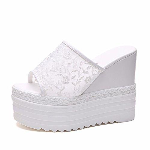 AJUNR Moda/Elegante/Transpirable/Sandalias Pendiente Zapatillas Mujeres Verano Desgaste Inferior Grueso Word Arrastre 14cm Super Tacón Alto Jengibre Fresco white