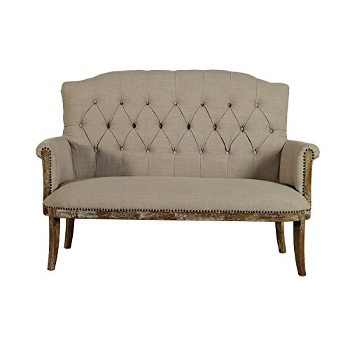 Baxton Studio Elizabeth Chic French Vintage Inspired Classic Oak Wood Beige Linen Fabric Upholstered Loveseat Seating - Loveseat Oak Fabric