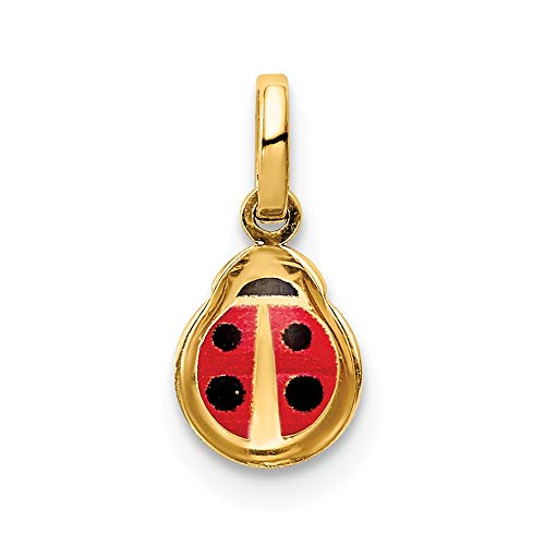 14k Yellow Gold Enamel Ladybug Charm Necklace Pendant Insect Fine Jewelry Gifts For Women For Her