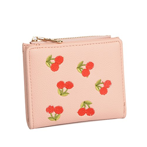 Nawoshow Women Cute Small Wallet Cherry Pattern Coin Purse Card Holder Clutch Bag (A-Pink) (Cherry Wallet Blossom)
