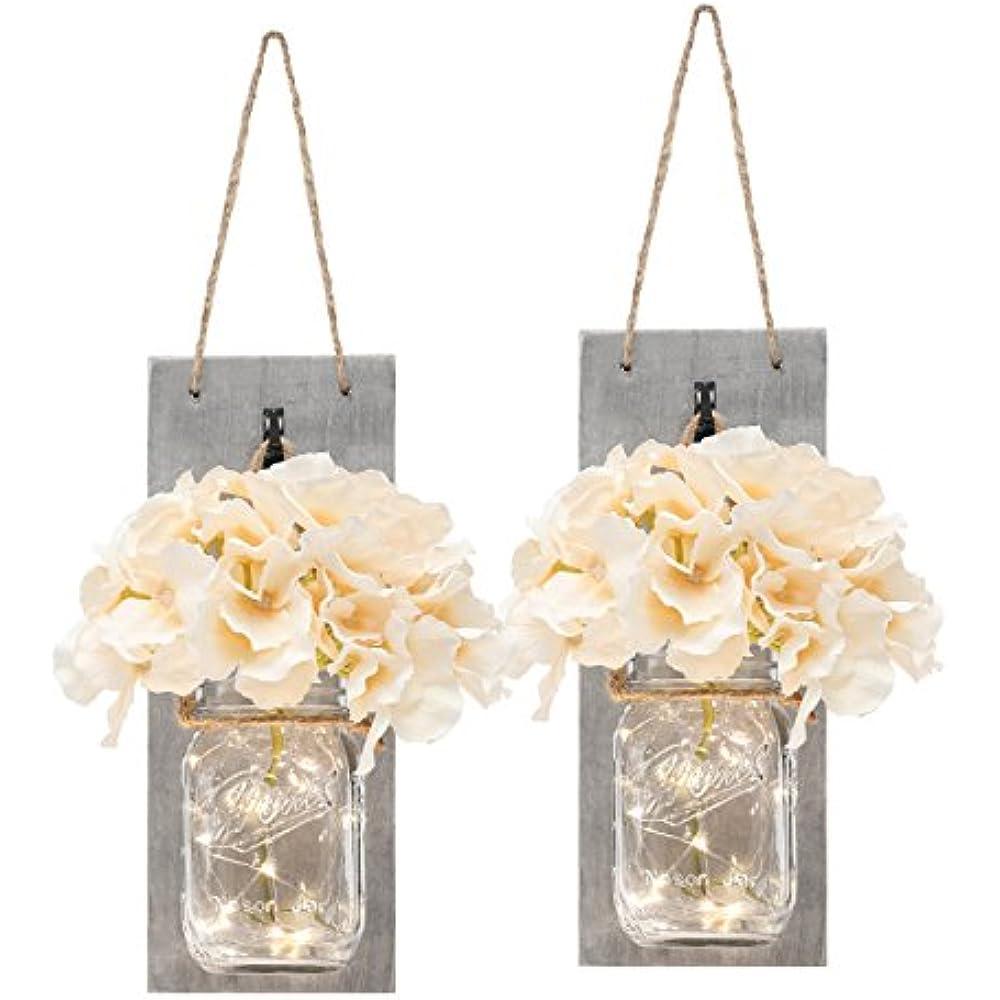 wholesale dealer ed763 2d3c5 Details about HANGING MASON JAR SCONCES WITH LED FAIRY LIGHTS