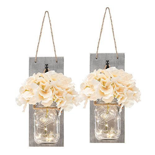 (Set of Two Lighted Sconces Country Rustic Mason Jar Wall Sconce HANGING MASON JAR SCONCES WITH LED FAIRY LIGHTS)