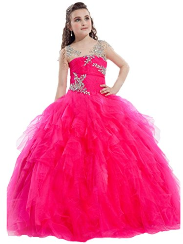 GreenBloom Girls' Rhinestones Tulle Illusion Hollow Pleated Midriff Pageant Dresses Red 8