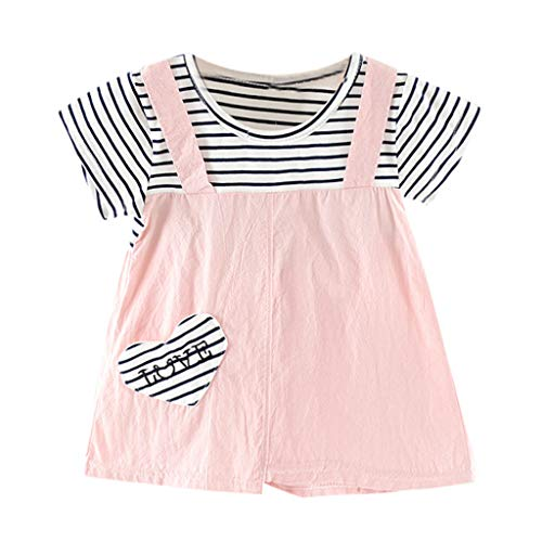 MALLOOM Toddler Kid Baby Girl Striped Letter Heart Printed Party Princess Dress Clothing Pink