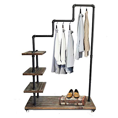 Wood Clothing - Diwhy Industrial Pipe Clothing Rack Pine Wood Shelving Shoes Rack Cloth Hanger Pipe Shelf 4 Layer