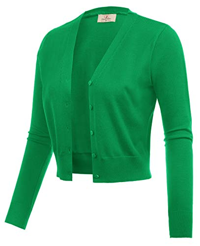 GRACE KARIN Women Cotton Open Front Bolero Shrug Jacket Green Size XL CL2000-7 ()
