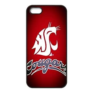 Sport 1 NCAA Washington State Cougars Print Black Case With Hard Shell Cover for Apple iPhone 5/5S