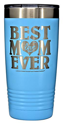 """Love Mom Mug - GIFT FOR MOM - """"BEST MOM EVER ~ LOVE YOU"""" GK Grand Engraved Stainless Steel Vacuum Insulated Tumbler 20 oz Large Travel Coffee Mug Hot & Cold Drink Christmas Birthday Mothers Day (SKY BLUE)"""