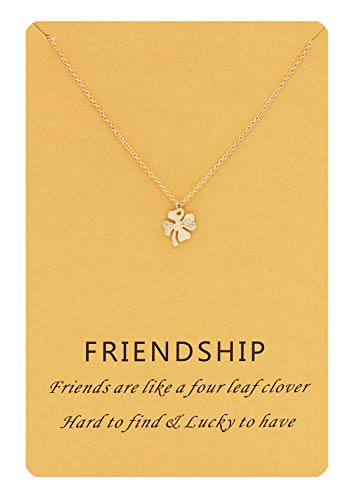 Hanloud Lucky Clover 4 Leaf Pendant Necklace Gold Charming Clover Necklace Message Friendship Jewelry for Women ()