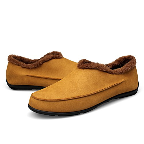 YiJee Men's Moccasin Casual Warm Loafers Slip-On Driving Shoes Yellow D8Glj