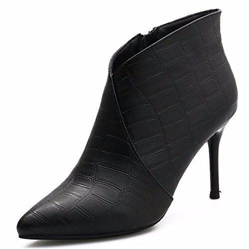Feel 34 Women Boots Format Martin Short 8Cm High The Fine Heeled Black Zipper Boots Bare KHSKX And With Texture Side Wild Boots Tip 8T1qxzB