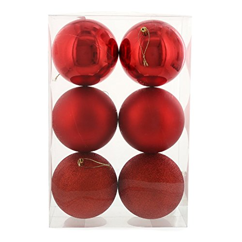 Red Christmas Ornaments Assorted Shiny Matte Glitter Large Hanging Ball Tree Holiday Decoration Set (6ct - 120mm)