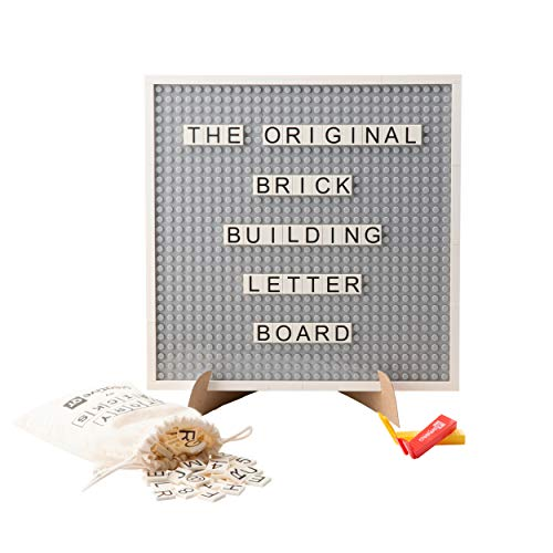 Creative QT Letter Board - Changeable Building Brick Message Board with Letters and Magnetic Backing - Includes More Than 285 StoryBricks, Grey 10 x 10 Inch Square Size (Brick Board)