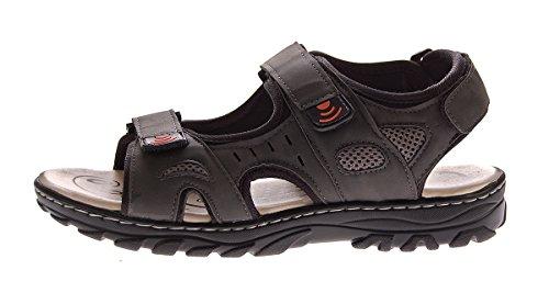 Herren Grau Gr Pantoletten Braun Halb Klettverschluss Dunkelgrau 45 Sandalen Hell Sandaletten Schuhe 40 8Rrf8xq