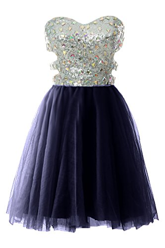 Sequin Gown Women MACloth Dress Formal Ball Strapless Prom Short Dunkelmarine Cutout Evening xgnHwqn