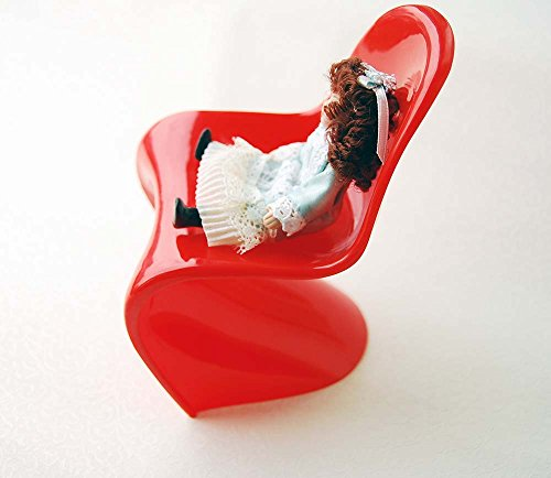 Red Modern 1:6 Scale Simple Verner Panton Style Chair for Fashion Doll House