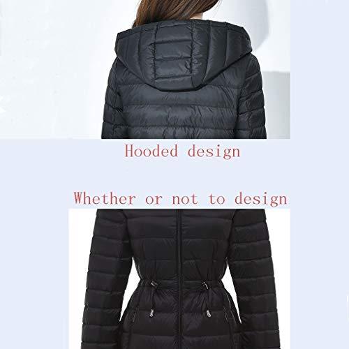 Élastique À Red Black D'hiver Imperméable Pour Longue Facile Une Ajustable color Dans Légère Femmes Veste Emporter Poche Xl Manteau Capuchon Et Taille n18U5ZAwnq