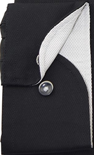 bugatti Hemd modernfit schwarzes Hemd langarm Button-Down Kragen ohne Tasche Size L