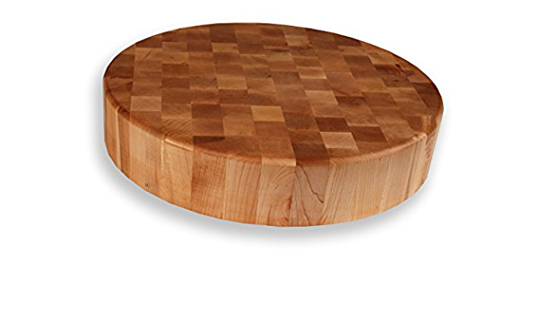 3 thick hard maple circular Michigan butcher blockcutting board