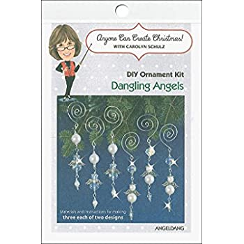 Solid Oak Kit Beaded Ornament Dangling Angels ORN