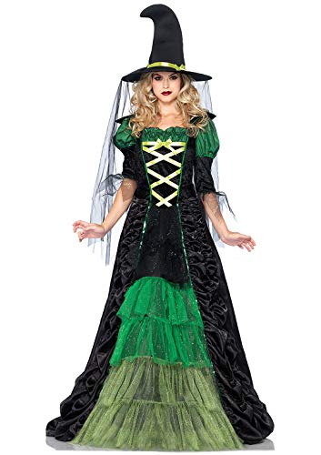 Leg Avenue Women's 2 Piece Storybook Witch Costume, Black/Green, Medium/Large -