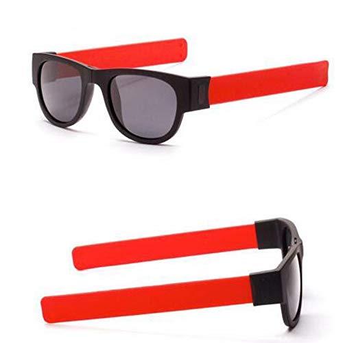 Creative Wristband Glasses Polarized Sunglasses Lightweight Polarized Oversized Fashion Vintage Eyewear for Driving Fishing (Red) -