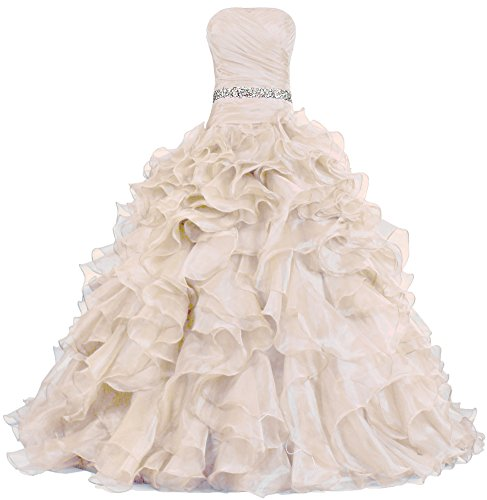 ANTS Women's Pretty Ball Gown Quinceanera Dress Ruffle Prom Dresses Size 12 US Teal Blue