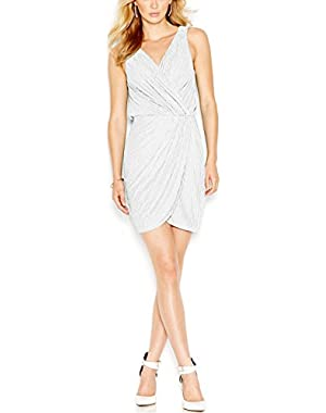 Guess Women's Metallic Faux Wrap Dress