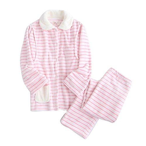 Flanella Incinte Donna Donne E l'allattamento al seno L'allattamento al seno addensare veste, Bello Maniche lunghe Pigiama Set Strisce rosa