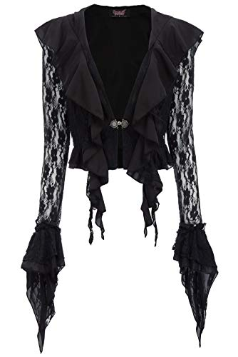 Women Halloween Vintage Steampunk Button Lace Hooded Cape Tops -