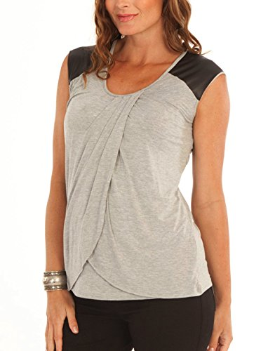 Angel Maternity: Sleeveless Petal Nursing Top - The Perfect Blouse for Breastfeeding - Grey - - Maternity Blouse Waist Smocked