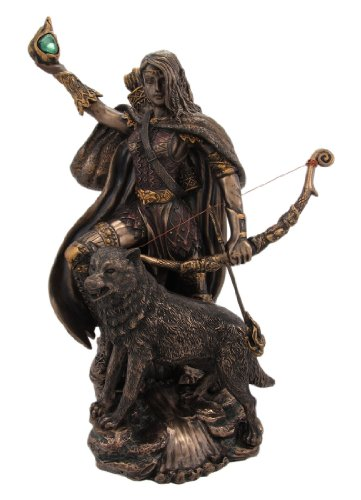 Skadi Warrior with Bow and Arrow and Wolf Resin Statue Figurine (Statue Figurine Warrior)