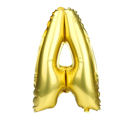Hemi Letters - LiPing 16Inch A to Z Letter Foil Helium Birthday Wedding Party Love Decor Party Balloons Easy to Inflate Ball Balloons (A)