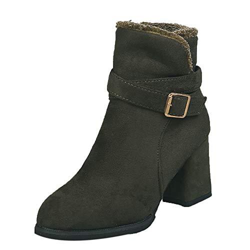 discount XUANOU Women Ankle Boots Martin Boots Zipper Side Belt Buckle Ankle Boots Party CastañerEr hot sale