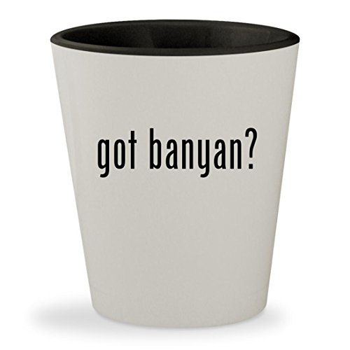 got banyan? - White Outer & Black Inner Ceramic 1.5oz Shot Glass (Bay Banyan)