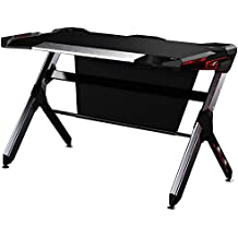 Kinsal Gaming Desk Computer Desk Table With Fighting LED Ambience Lighting (7 adjustable lighting surround your desk), Racing Table E-sports Durable Ergonomic Comfortable PC Desk (6 Color+RGB)