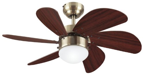 Westinghouse Lighting 7824820 Turbo Swirl Single-Light 30-Inch Six-Blade Indoor Ceiling Fan, Antique Brass with Opal Frosted Glass