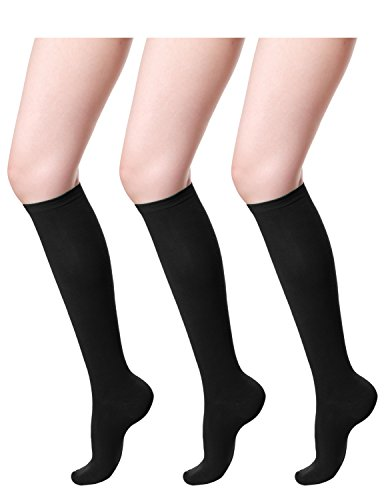 HASLRA Women's Knee High Socks 3 Pairs (BLACK) Medium (School High Socks)