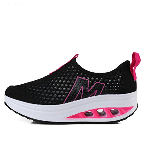 Zapatillas Annabelz Mujeres Malla Slip On Toning Shoe Zapatillas Para Andar Fitness Work Out Sneaker Black1