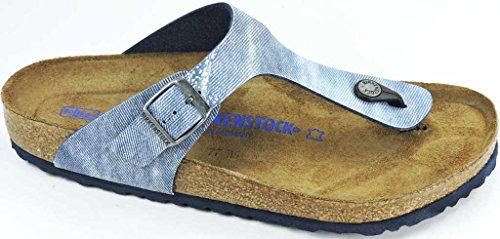 Birkenstock Women's Gizeh Soft Cork Footbed Thong Sandal Blu Jeans 38 M EU by Birkenstock