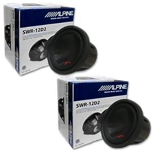 2 x Alpine SWR-12D2 12-inch Dual 2-ohm Type-R Car Audio Sub woofers