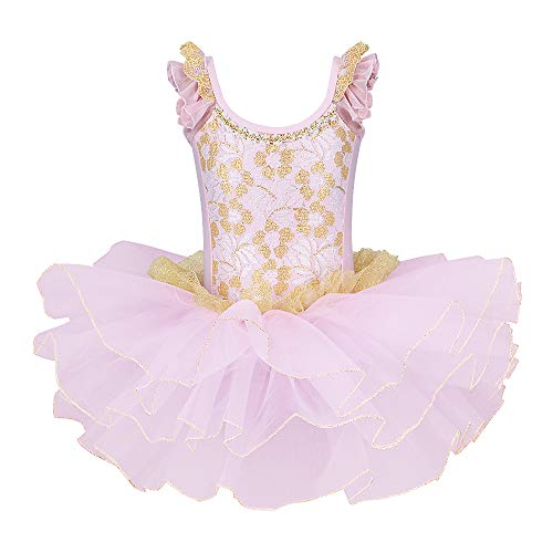BAOHULU Little Girls Leotards Dance Ballet Tutu Princess Dress Ballerina Costumes 3-8Y Ruffle Sleeve (Gold Pink, 3-4 Years) -