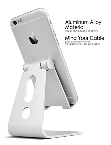 Adjustable cell phone stand, Lamicall iPhone Stand : [UPDATE VERSION] Cradle, Dock, Holder For Switch, iPhone 7 6 6s Plus 5 5s 5c charging, Accessories Desk, all Android Smartphone - Silver